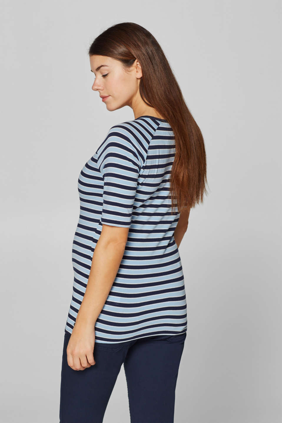Stretch top with stripes, LCLIGHT BLUE, detail image number 3