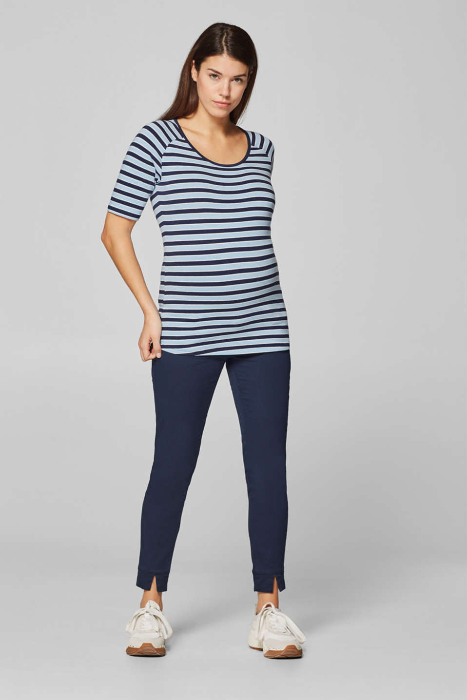 Stretch top with stripes, LCLIGHT BLUE, detail image number 1
