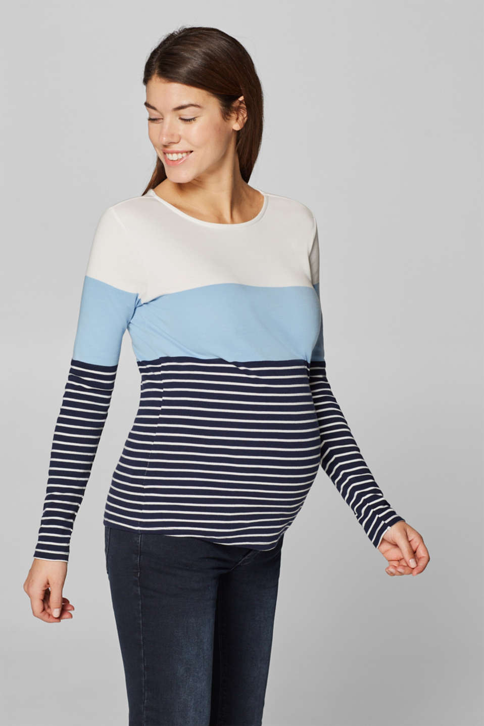 Esprit - Long sleeve top with colour blocking, 100% cotton