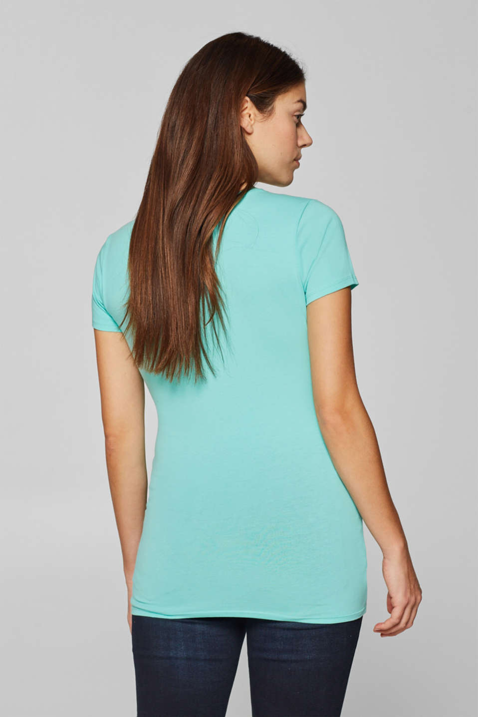 Stretch top with a shiny print, LCLIGHT AQUA GRE, detail image number 3