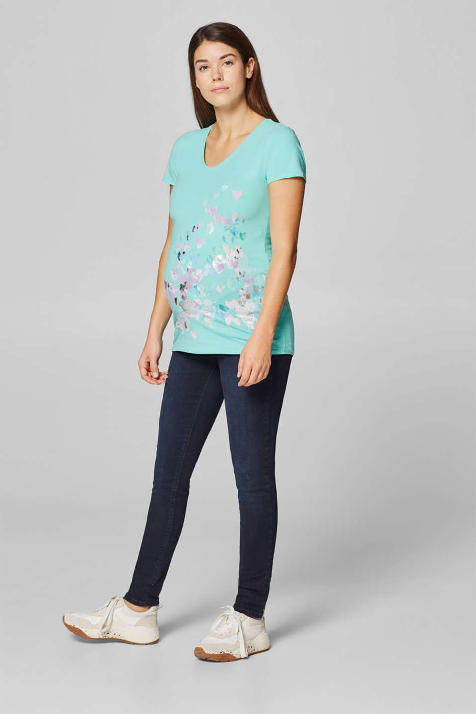 Stretch top with a shiny print, LCLIGHT AQUA GRE, detail image number 1
