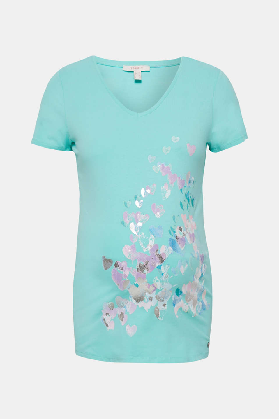 Stretch top with a shiny print, LCLIGHT AQUA GRE, detail image number 6