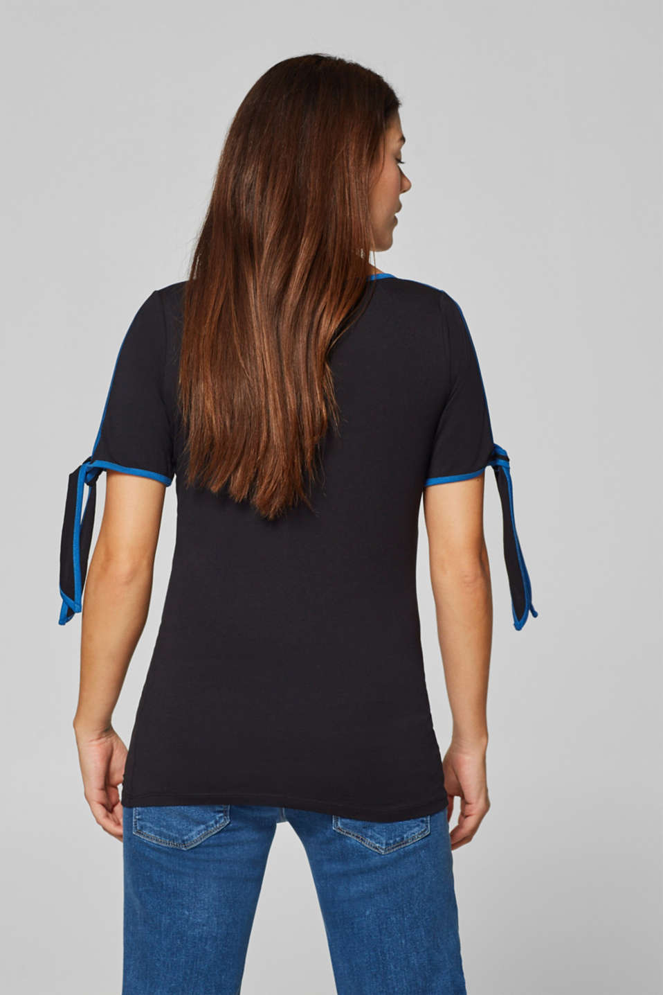 T-shirt with piping and bows on the sleeves, LCBLACK, detail image number 3