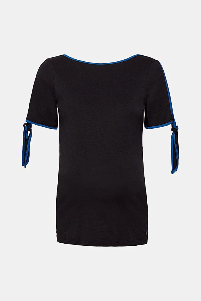 Shirt mit Pipings und Schleifen-Ärmeln, BLACK, detail image number 0