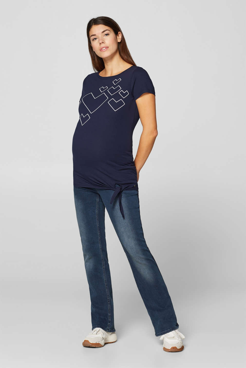 Stretch T-shirt with a print and a knotted detail, LCNIGHT BLUE, detail image number 1