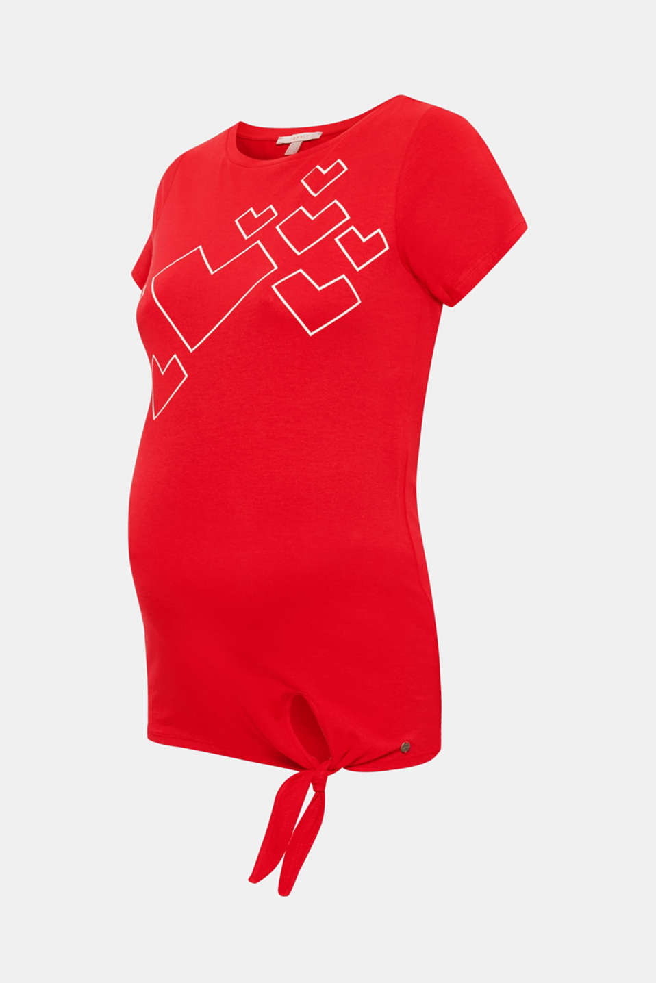 Stretch T-shirt with a print and a knotted detail, LCRED, detail image number 4