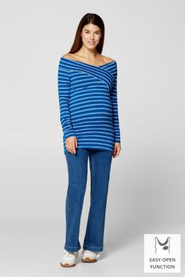 Stretch long sleeve nursing top, LCBRIGHT BLUE, detail