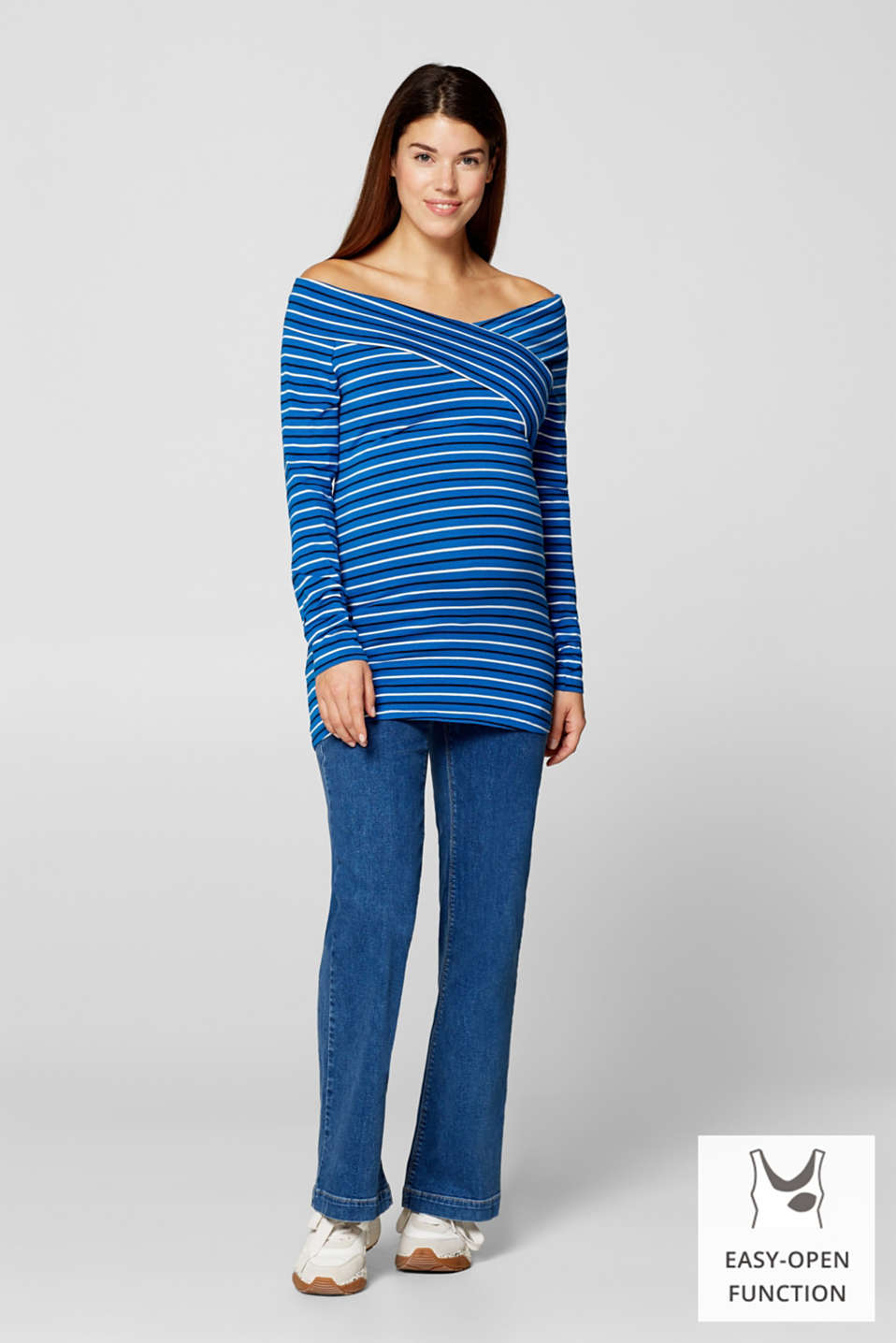 Stretch long sleeve nursing top, LCBRIGHT BLUE, detail image number 0
