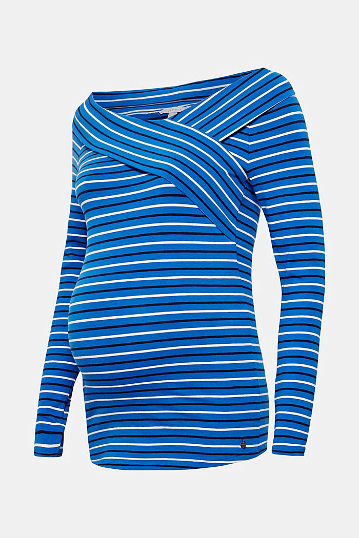 Stretch long sleeve nursing top, BRIGHT BLUE, detail image number 0