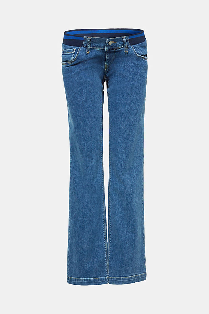 Bootcut-Jeans mit Unterbauchbund, BLUE DARK WASHED, detail image number 0