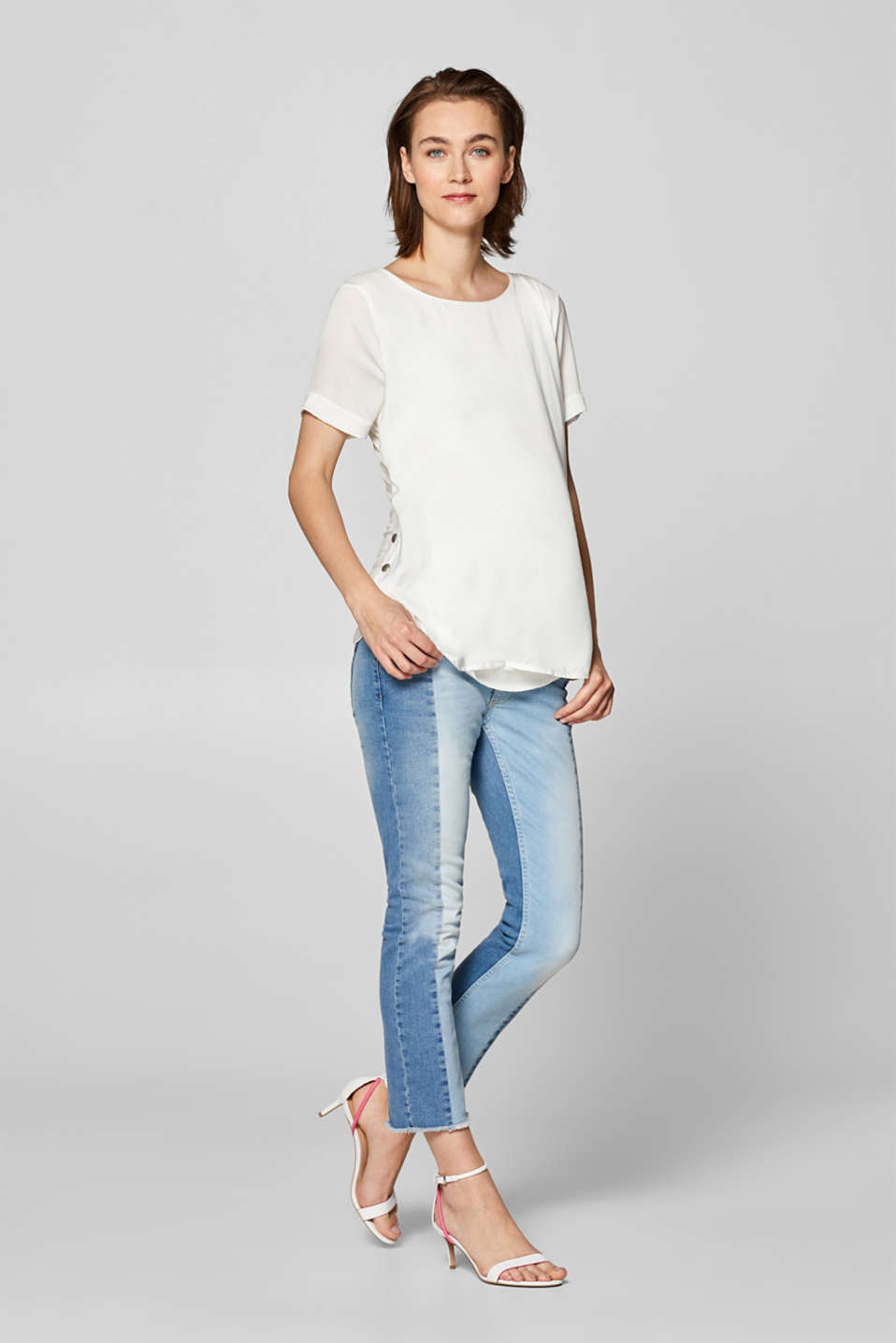 Esprit - Stretchjeans met patchwork en band over de buik