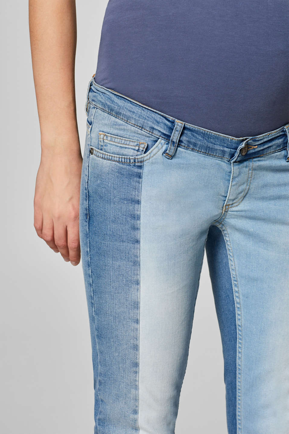 Patchwork stretch jeans with an over-bump waistband