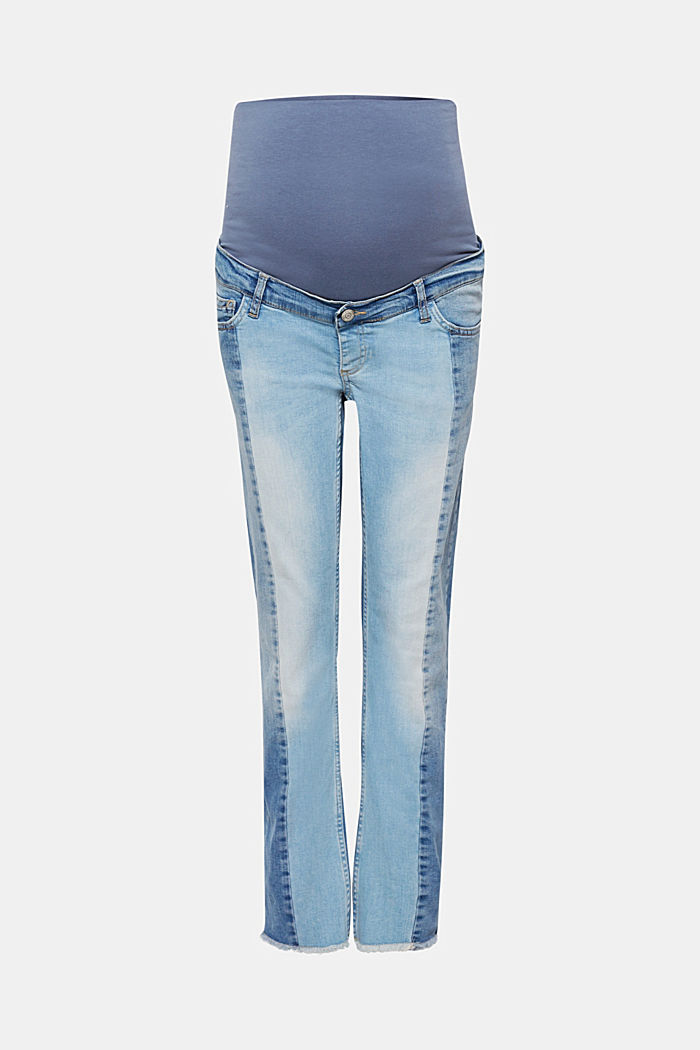 Patchwork stretch jeans with an over-bump waistband, BLUE MEDIUM WASHED, detail image number 0