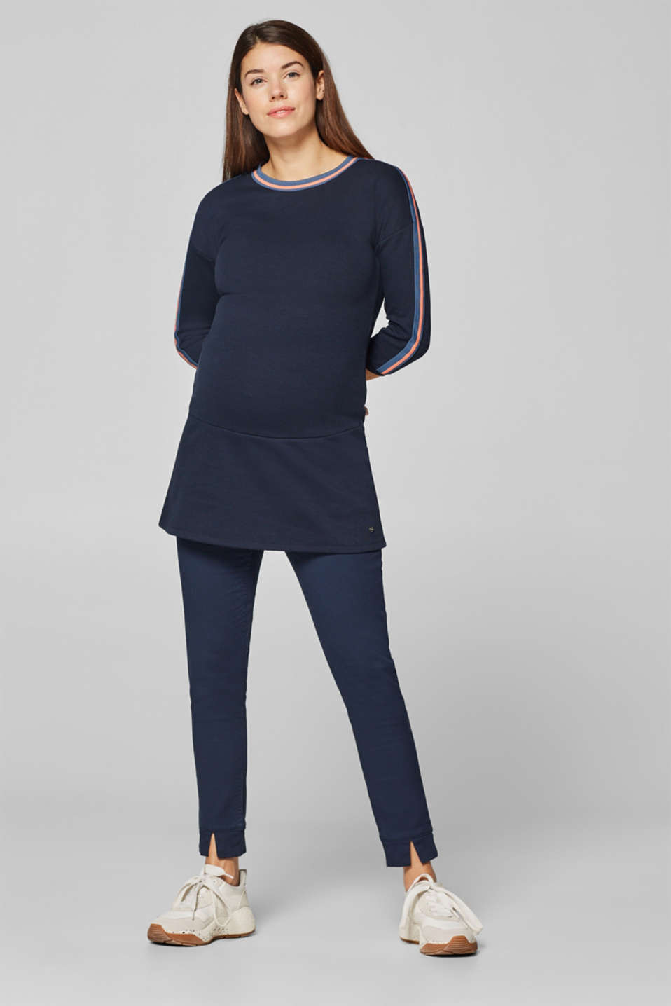 Sweatshirt tunic with striped woven tape decoration, LCNIGHT BLUE, detail image number 1