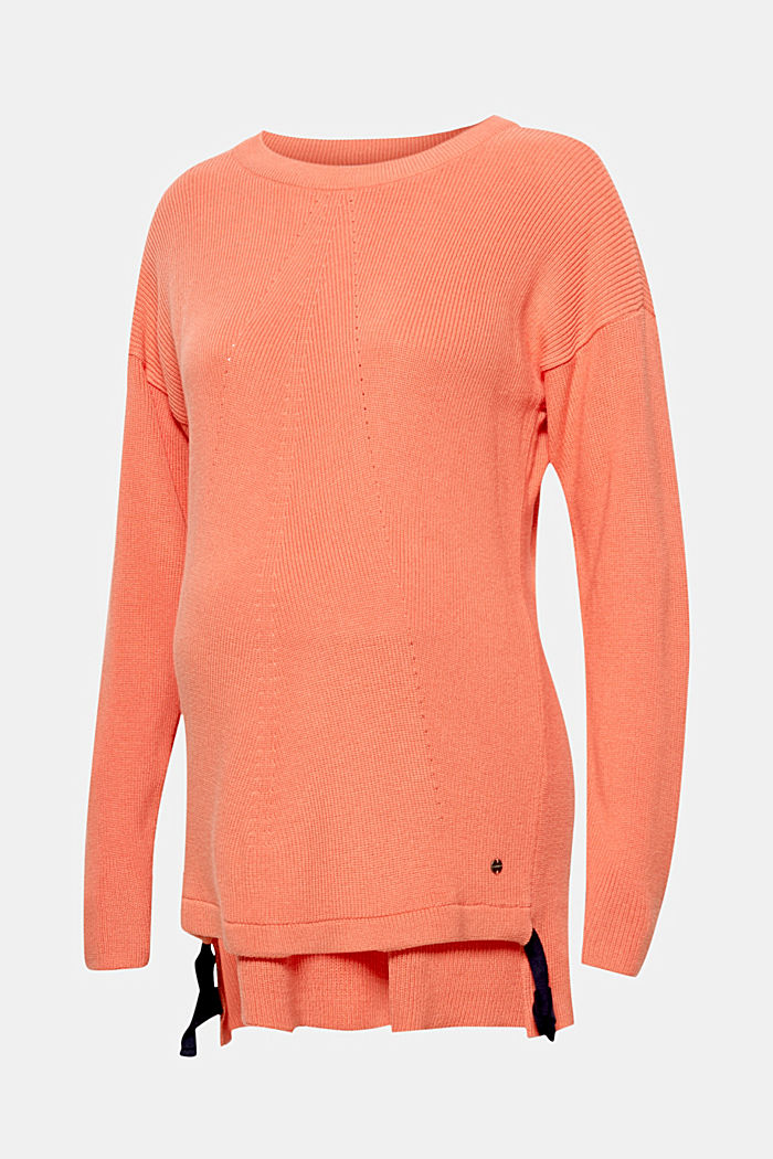 Jumper with bow details, CORAL ORANGE, overview
