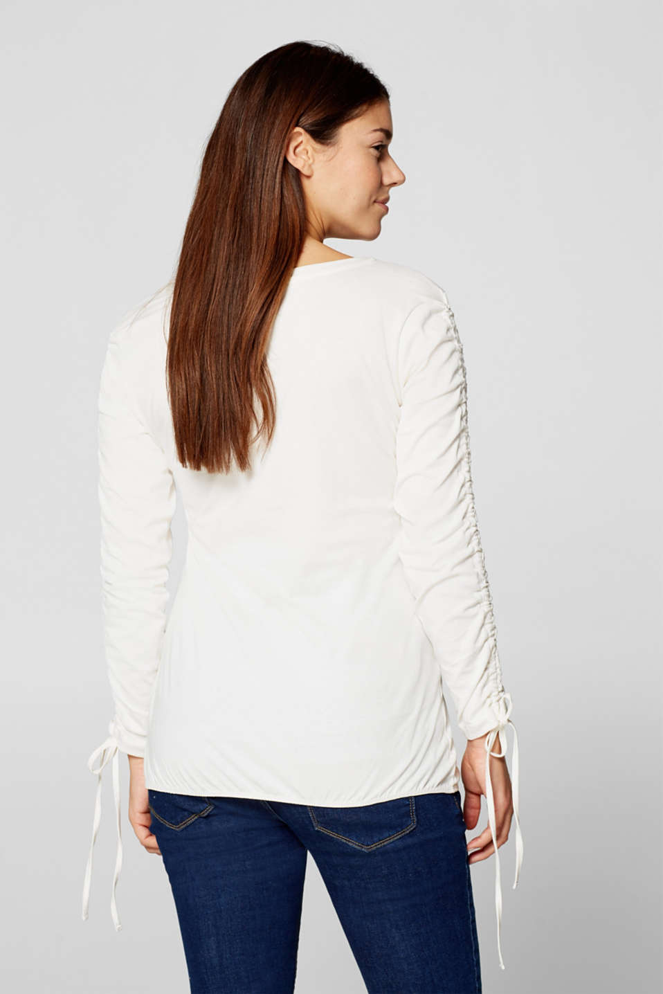 Long sleeve stretch top with gathered sleeves, LCOFF WHITE, detail image number 2