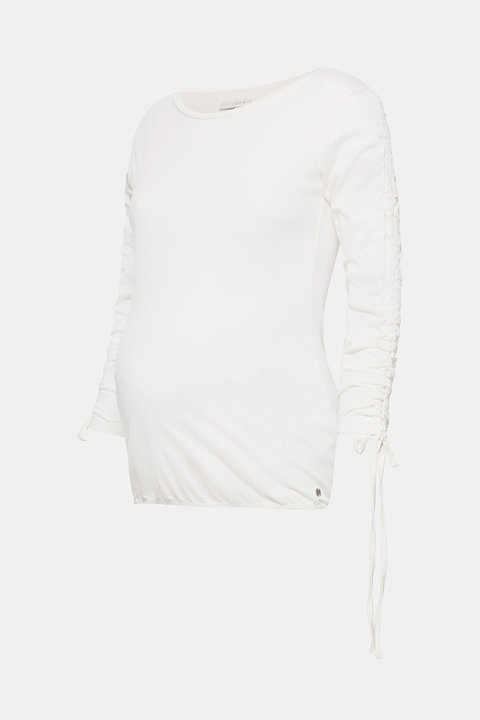 Long sleeve stretch top with gathered sleeves