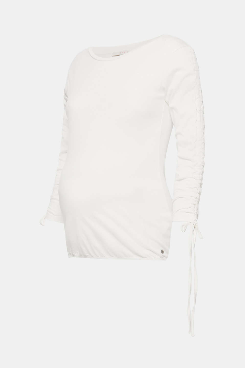Esprit - Long sleeve stretch top with gathered sleeves