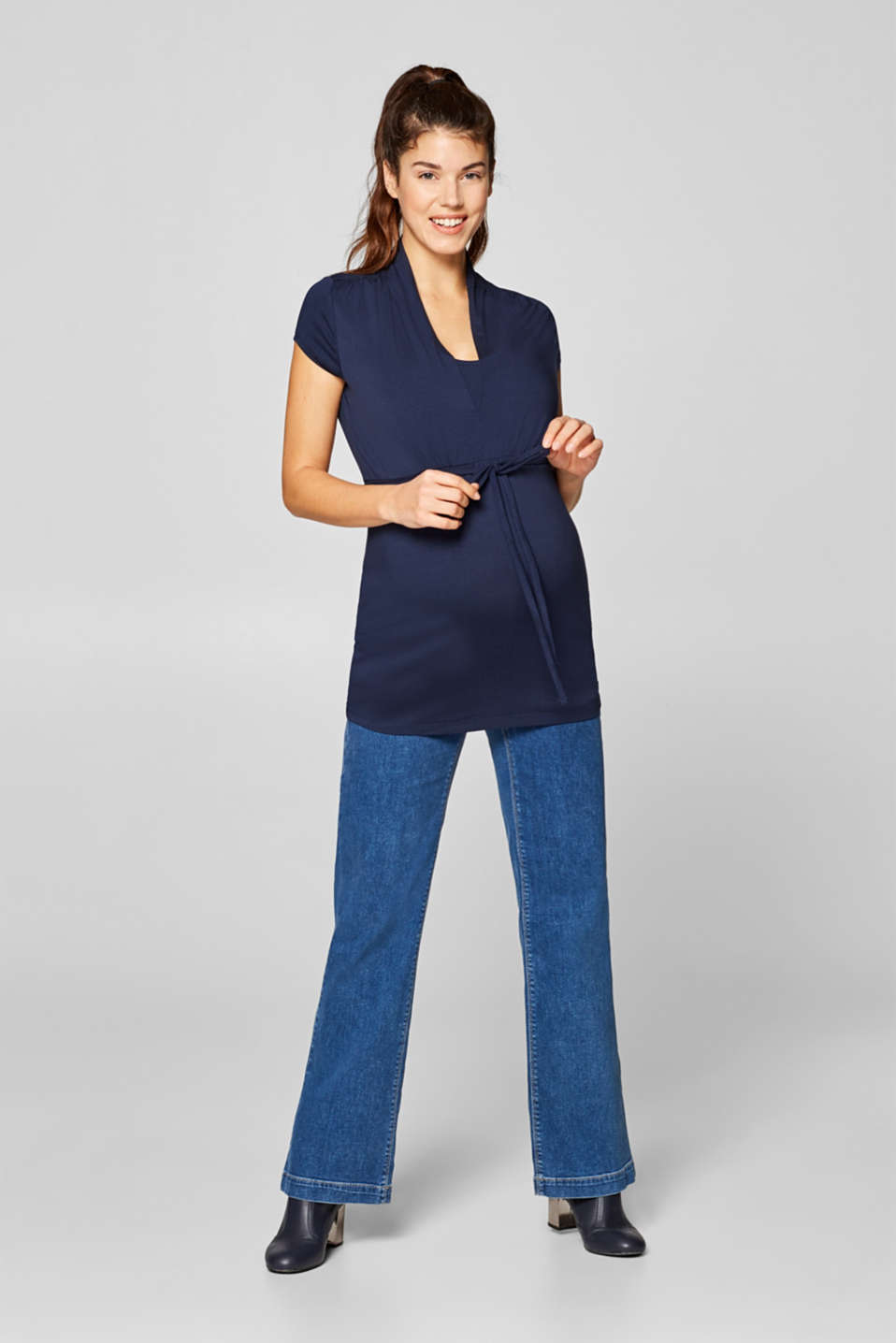 Stretchy nursing top, LCNIGHT BLUE, detail image number 1