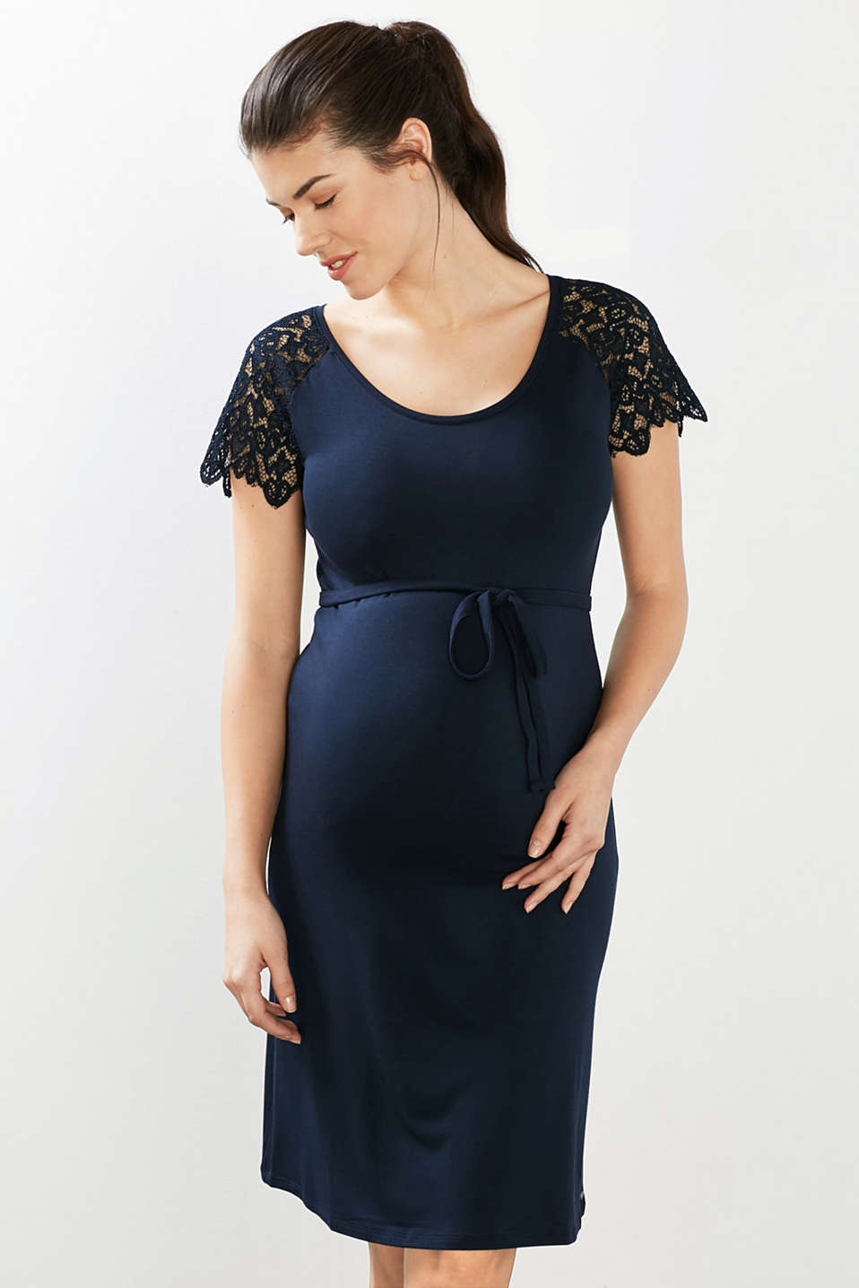 Esprit - Jersey dress with lace details