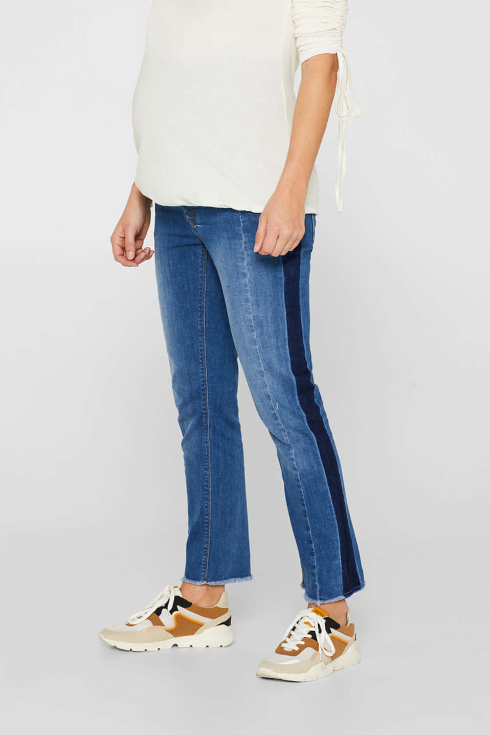 Esprit - 7/8 stretch jeans with an under-bump waistband