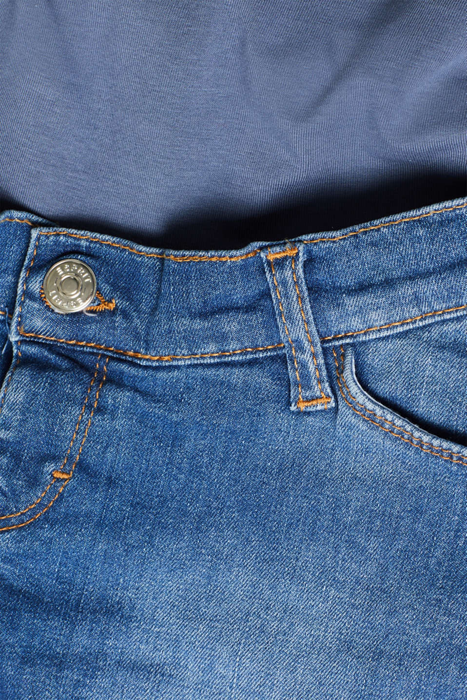 Stretch denim shorts with an over-bump waistband, LCMEDIUM WASH, detail image number 4
