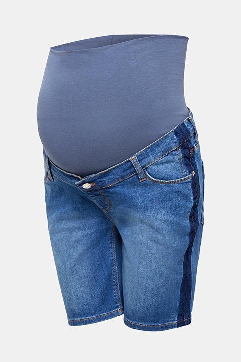 Stretch denim shorts, over-bump waistband