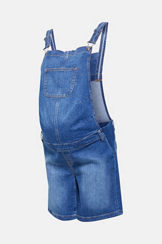 Dungaree shorts made of denim with stretch