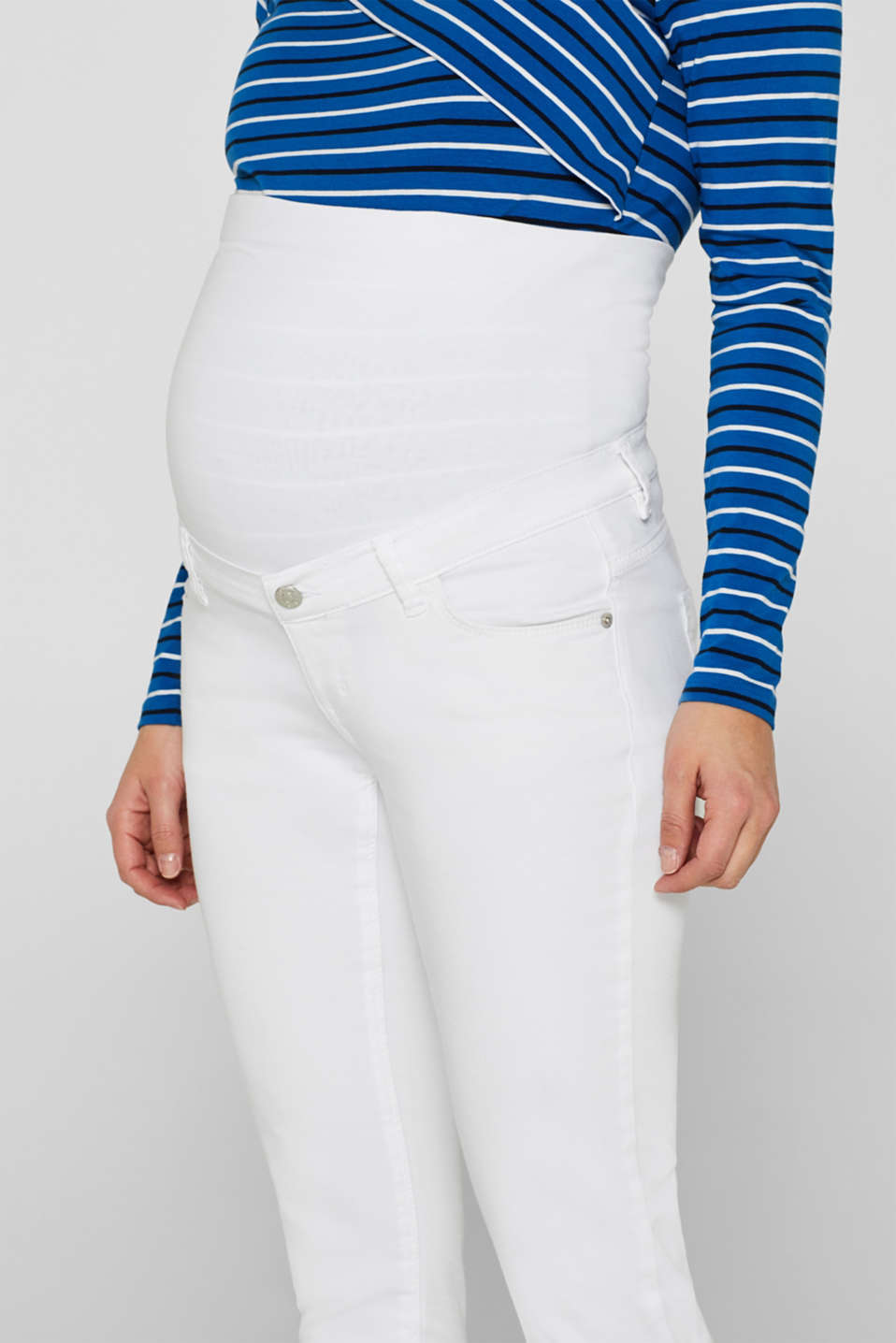 Stretch jeans with an over-bump waistband, LCWHITE, detail image number 2