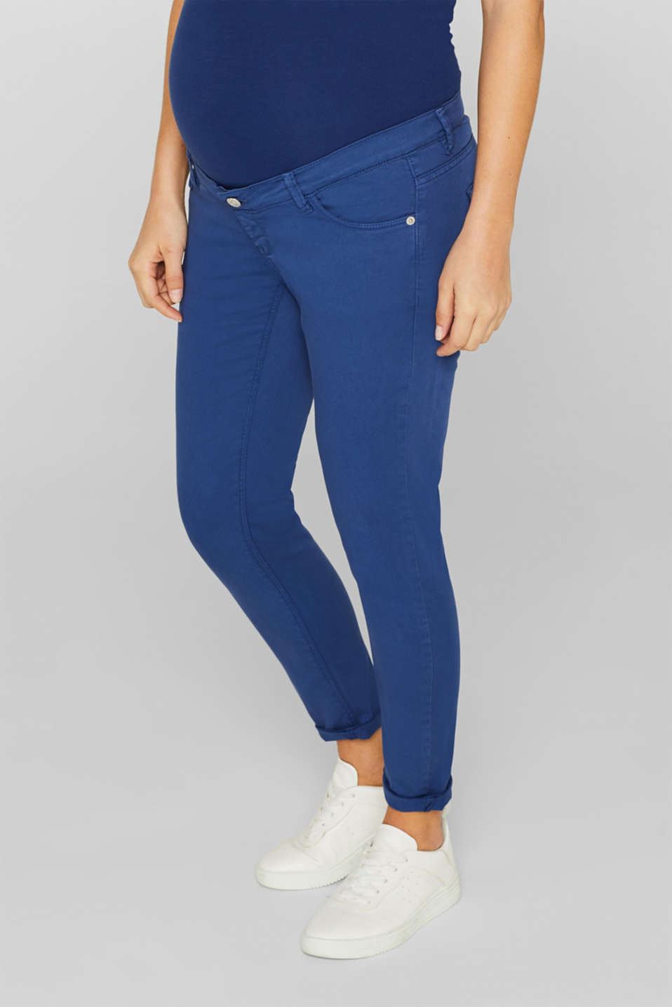 Stretch jeans with an over-bump waistband, LCDARK BLUE, detail image number 0