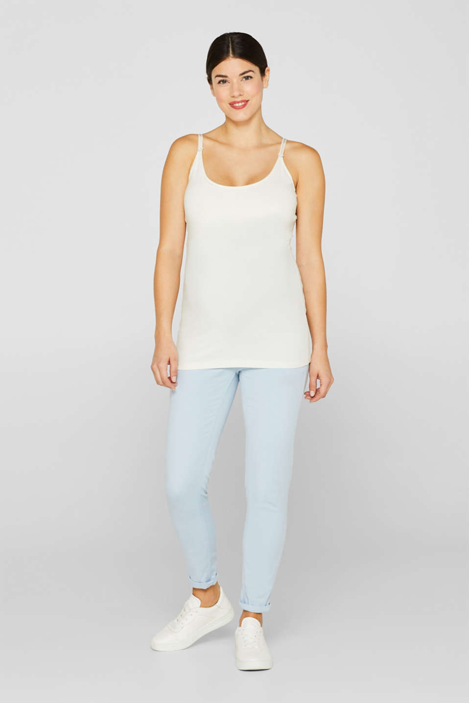 Stretch jeans with an over-bump waistband, LCLIGHT BLUE, detail image number 1