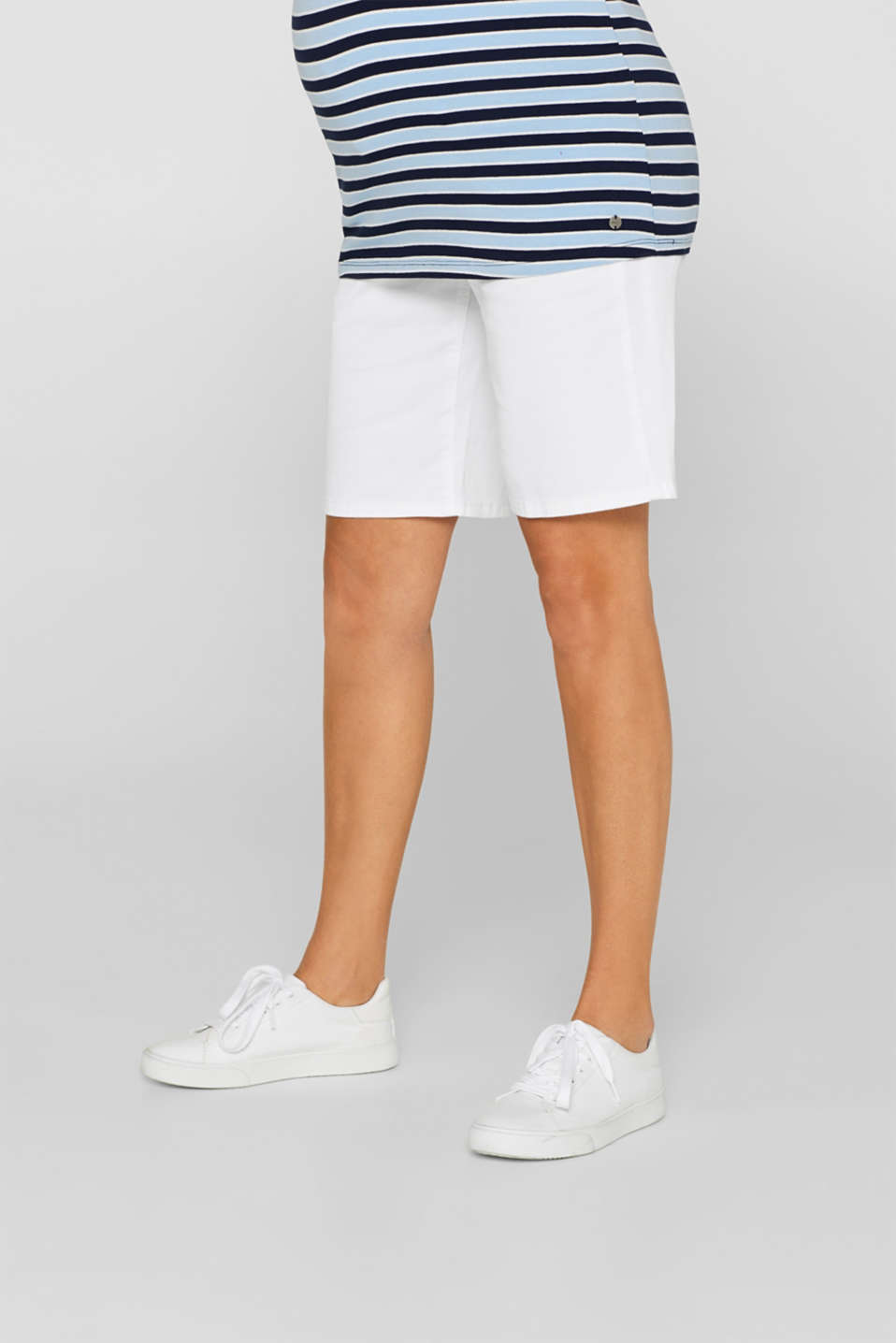 Chino shorts with an under-bump waistband, LCWHITE, detail image number 0