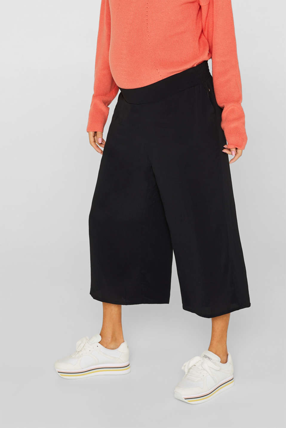 Crêpe culottes with an under-bump waistband, LCBLACK, detail image number 0