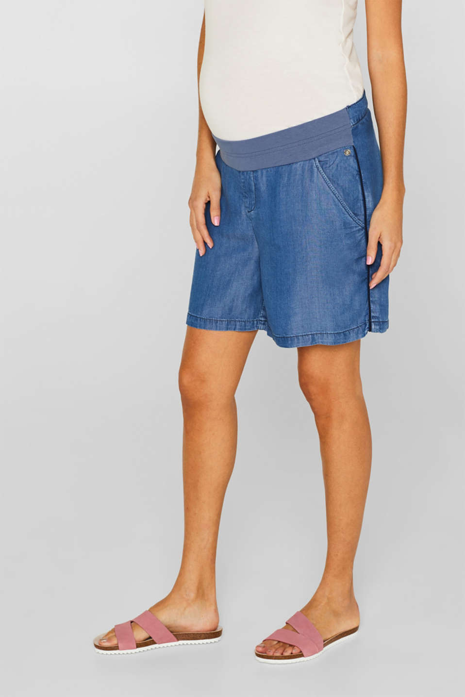 Denim-effect shorts, 100% lyocell, LCLIGHT BLUE, detail image number 7