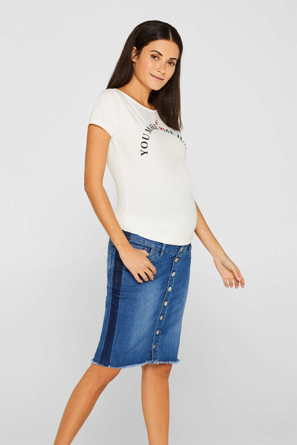 Esprit - Denim skirt with over-bump waistband