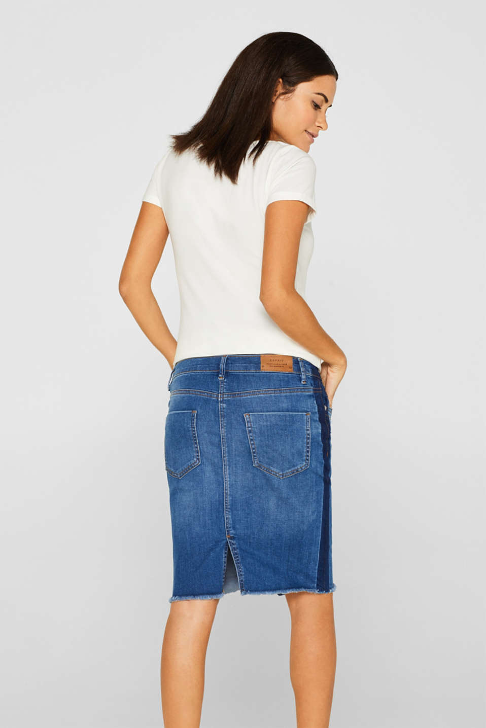 Denim skirt with over-bump waistband, LCMEDIUM WASH, detail image number 3