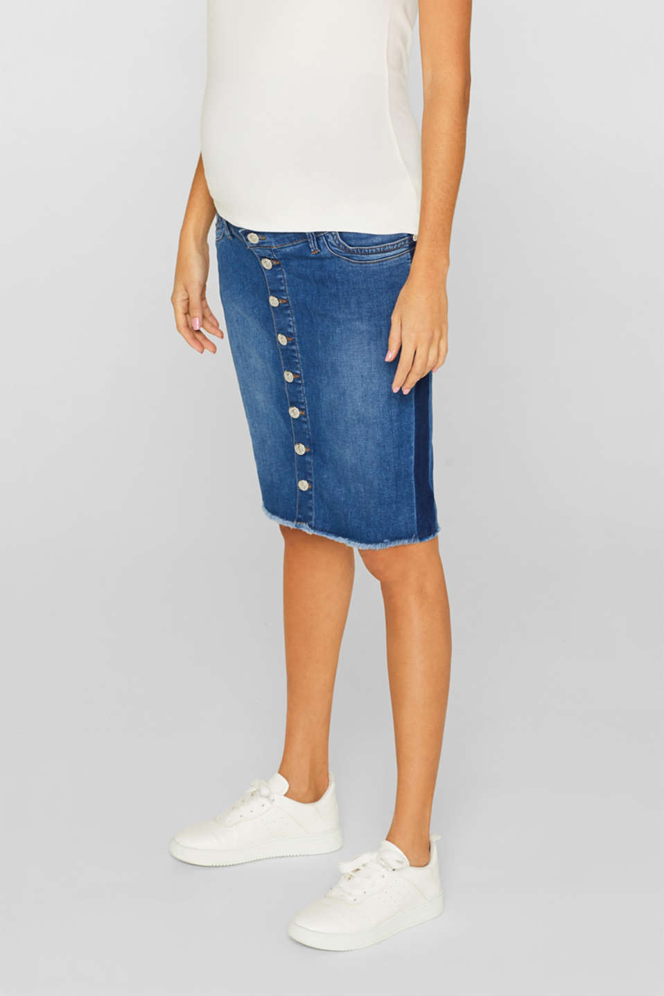 Denim skirt with over-bump waistband, LCMEDIUM WASH, detail image number 6
