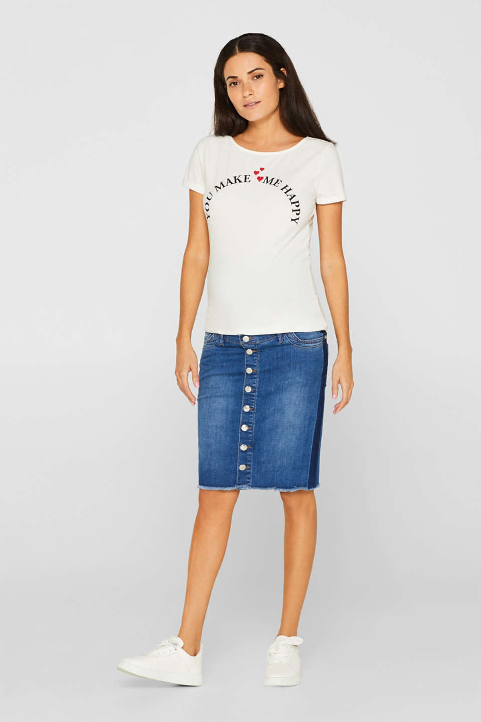 Denim skirt with over-bump waistband, LCMEDIUM WASH, detail image number 1