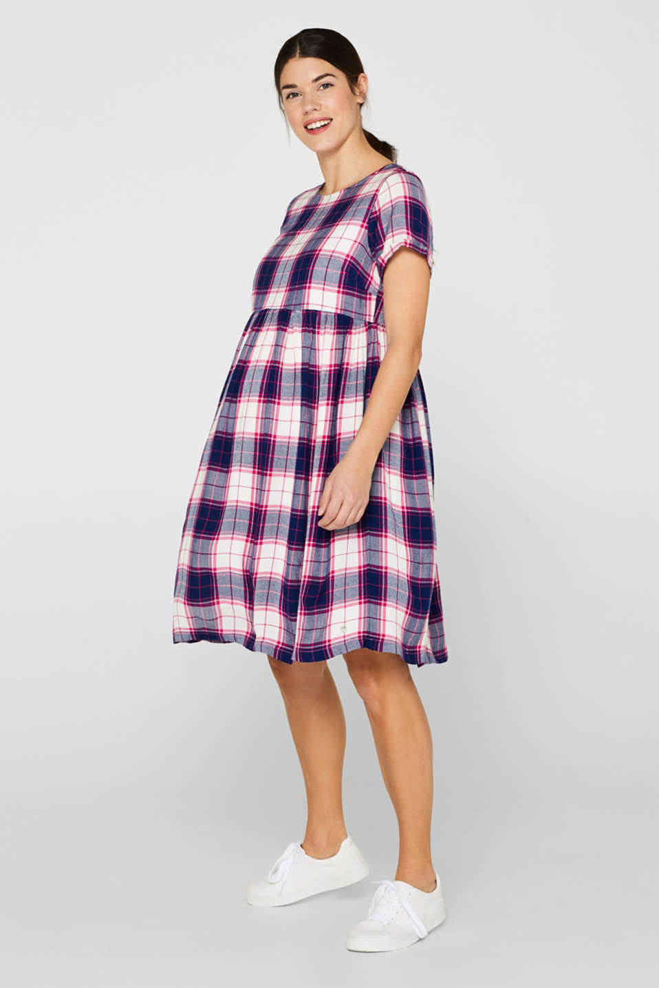 Woven check dress, LCDARK BLUE, detail image number 1