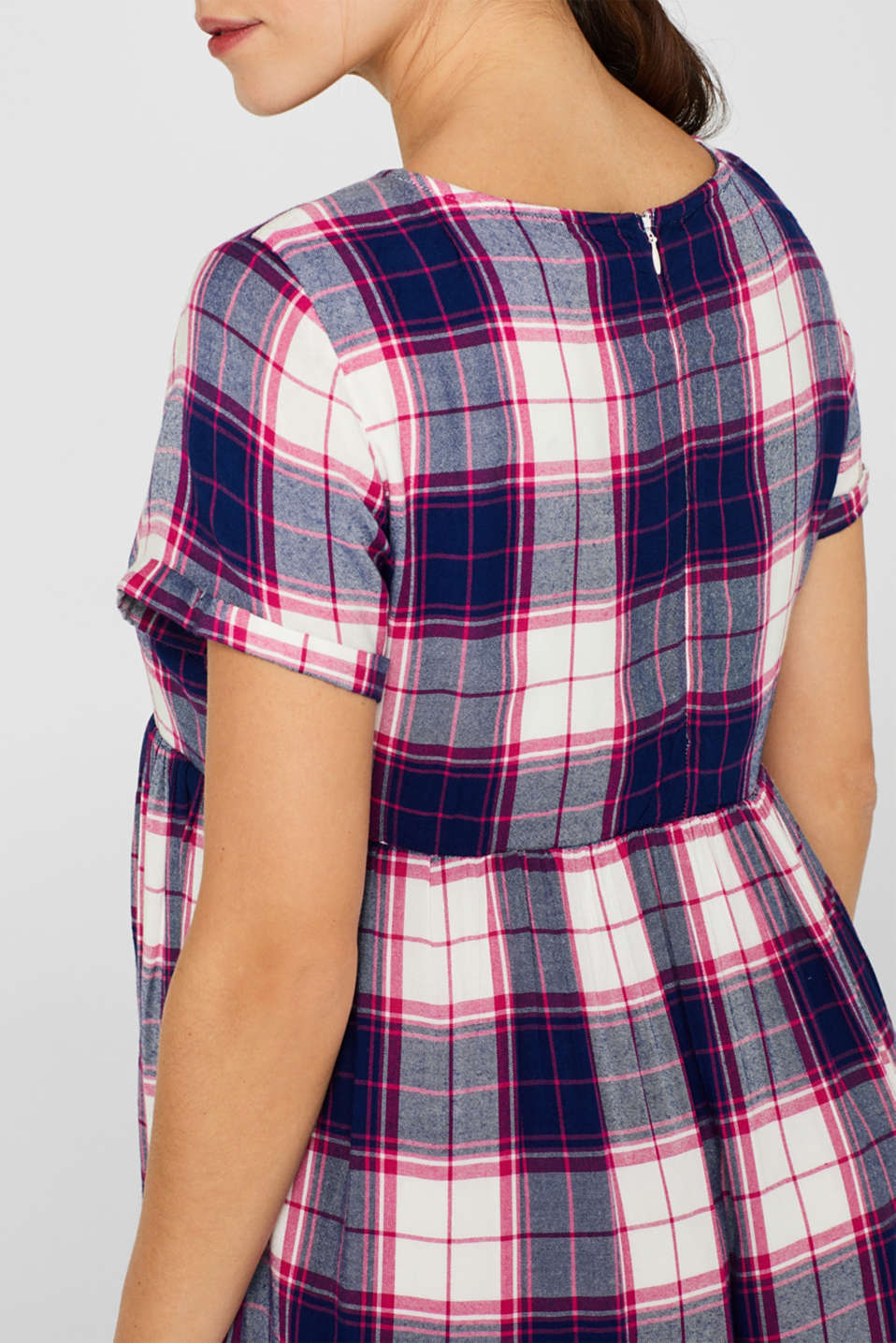 Woven check dress, LCDARK BLUE, detail image number 2