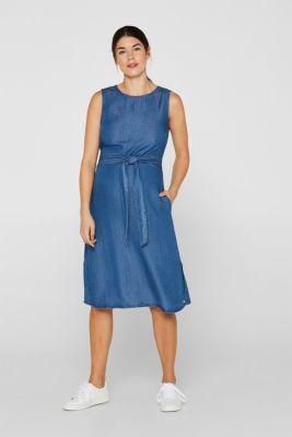 Denim dress with a belt, 100% lyocell, LCLIGHT BLUE, detail