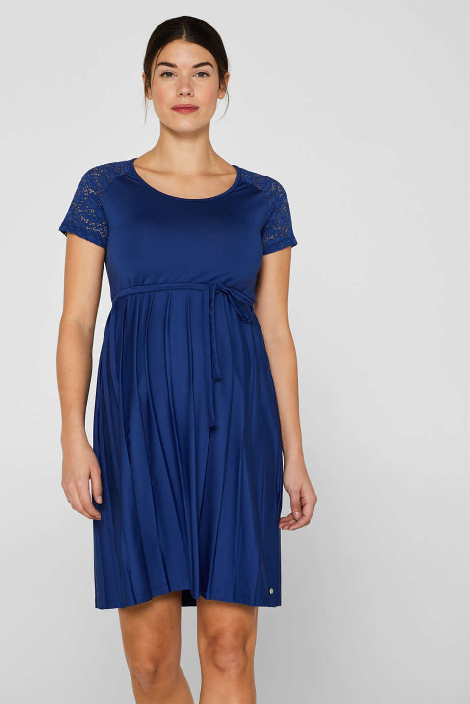 Esprit - Lace-trimmed dress with a pleated skirt