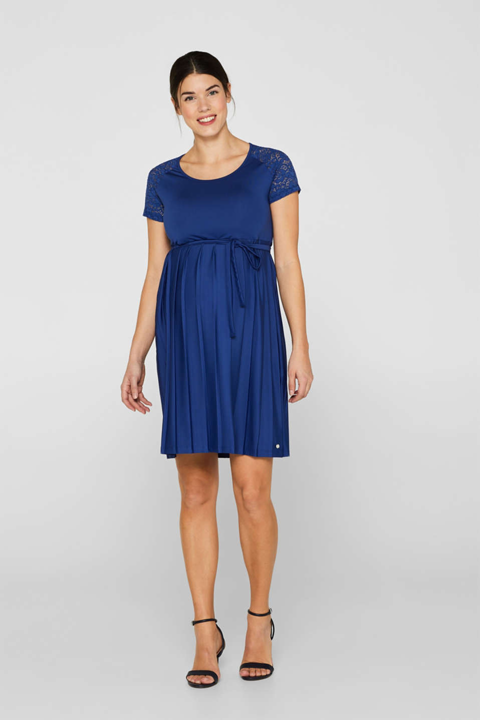 Lace-trimmed dress with a pleated skirt, LCDARK BLUE, detail image number 1