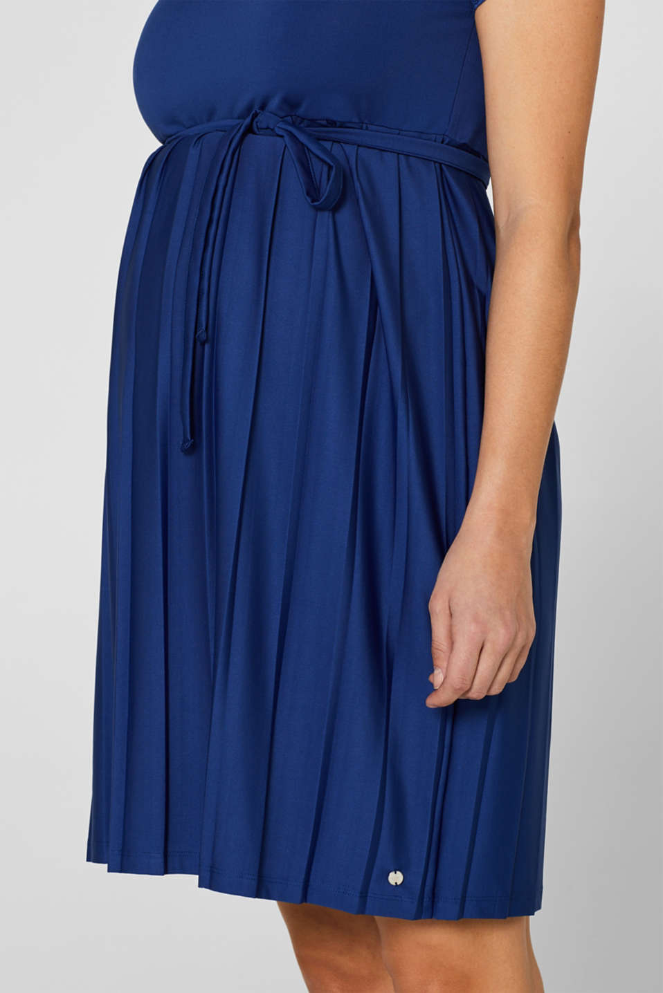 Lace-trimmed dress with a pleated skirt, LCDARK BLUE, detail image number 3