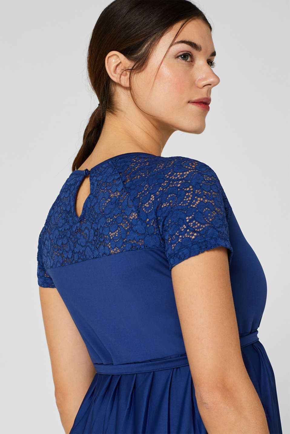 Lace-trimmed dress with a pleated skirt, LCDARK BLUE, detail image number 5