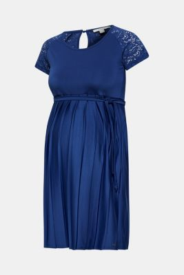 Lace-trimmed dress with a pleated skirt, LCDARK BLUE, detail