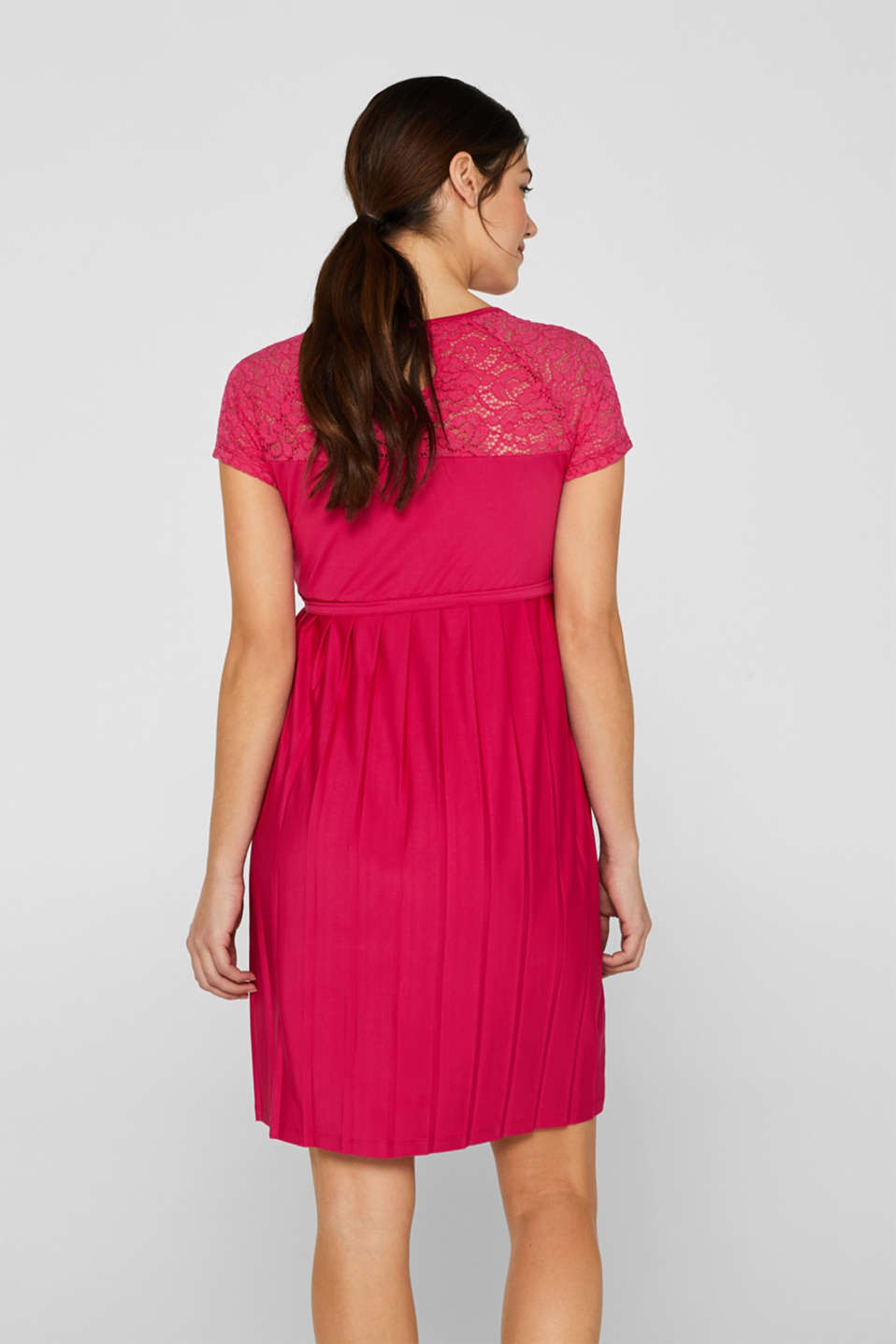 Lace-trimmed dress with a pleated skirt, LCPINK FUCHSIA, detail image number 2