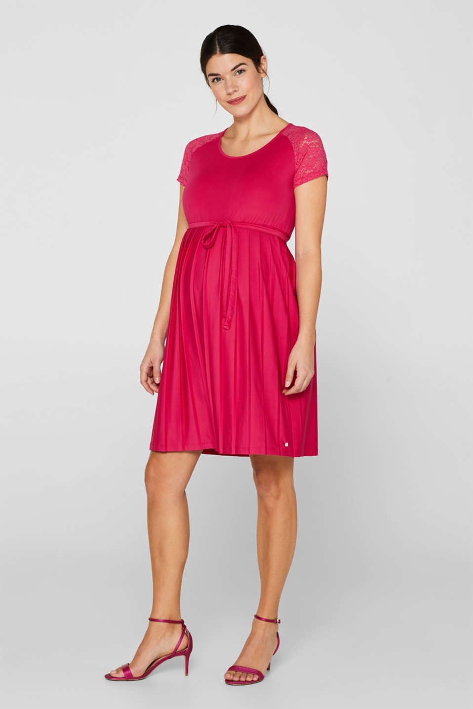 Lace-trimmed dress with a pleated skirt, LCPINK FUCHSIA, detail image number 1