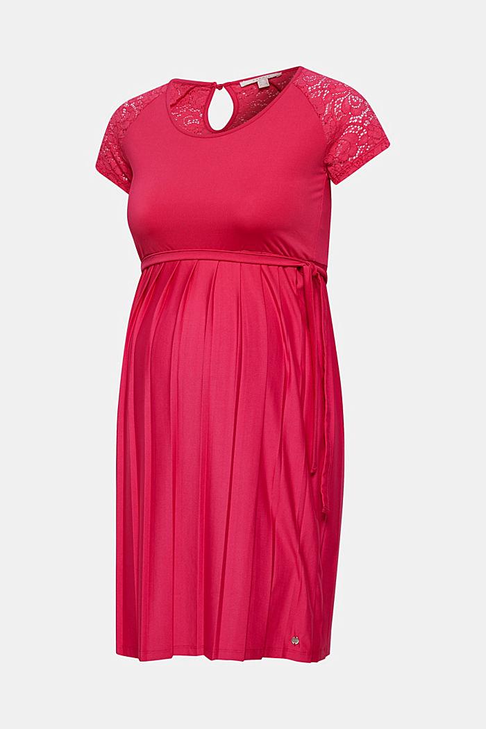 Klänning med spets och plisserad kjol, PINK FUCHSIA, detail image number 0