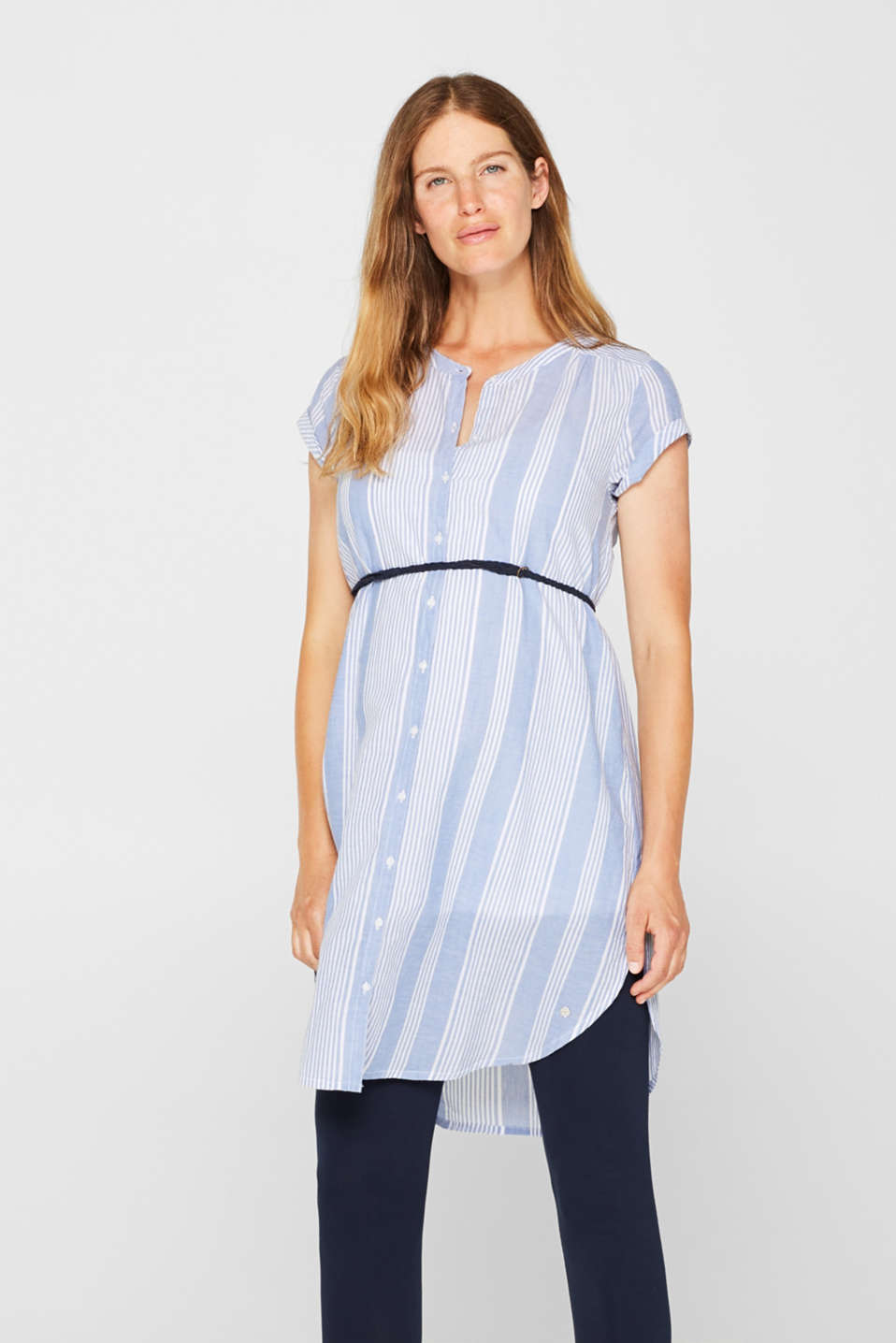 Tunic dress with a belt, 100% cotton, LCOFF WHITE, detail image number 0